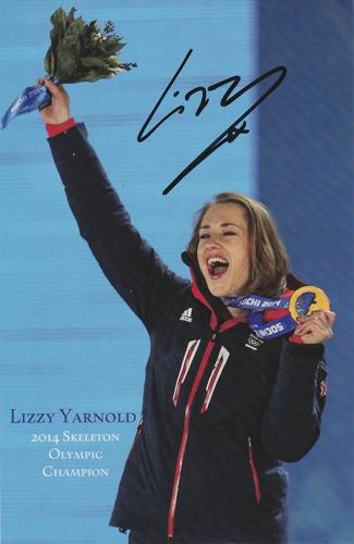Lizzy-Yarnold-Olympics-memorabilia-signed-Sochi-2014-Winter-Olympic-Skeleton-Gold-medal-champion-PR-card-autograph-portrait-photo