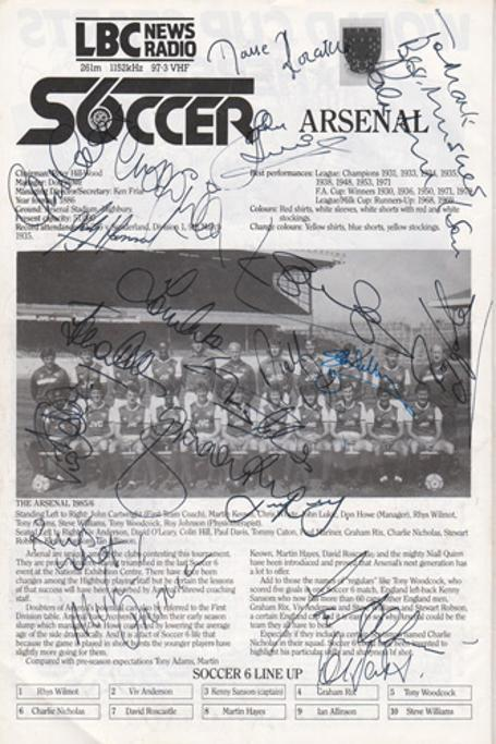 London-6-a-side-indoor-soccer-championships-programme-signed-Arsenal-FC-LBC-Wembley-Arena-Rix-Nicholas-Rocastle-Sansom-Anderson-football-memorabilia