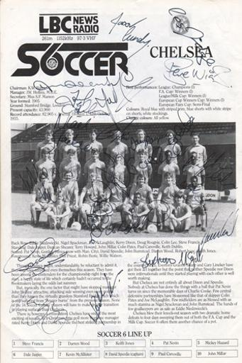 London-6-a-side-indoor-soccer-championships-programme-signed-Chelsea-FC-football-LBC-Wembley-Arena-Ferdinand-Speedie-Spackman-Cundy-Kerry-Dixon-Doug-Rougvie