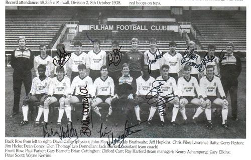 London-6-a-side-indoor-soccer-championships-programme-signed-Fulham-FC-Football-memorabilia-Roddy-Braithwaite-Lawrence-Batty-Leo-Donellan-Glen-Thomas-Gary-Elkins-Kevin-Hoddy