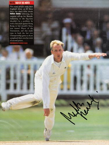 MATTHEW-FLEMING-autograph-signed-Kent-cricket-memorabilia-KCCC-England-Green-Jackets-Matt-Fleming