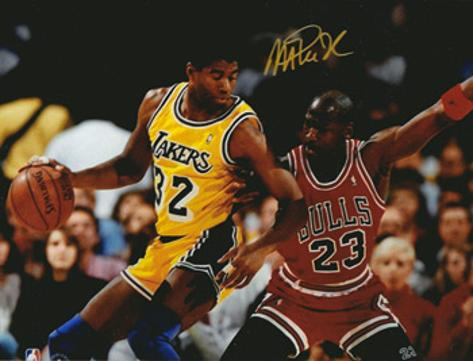 EARVIN 'MAGIC' JOHNSON  (LA Lakers & US Dream Team) signed photo of him & Michael Jordan.