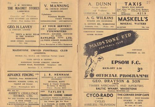 Maidstone-United-Urd-football-memorabilia-1951-official-match-day-programme-epsom-stones-750