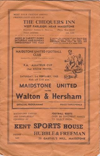 Maidstone-United-Urd-football-memorabilia-1962-official-match-day-programme-FA-Amateur-Cup-Walton-Hersham-320