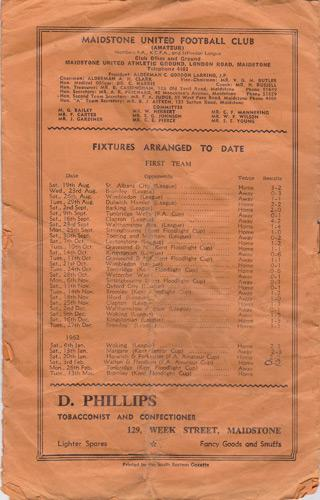 Maidstone-United-Urd-football-memorabilia-1962-official-match-day-programme-FA-Amateur-Cup-Walton-Hersham-back