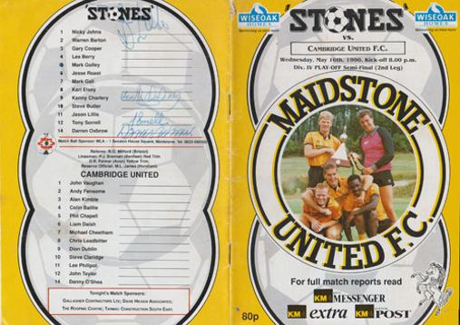 Maidstone-United-football-memorabilia-signed-programme-Cambridge-1990-Kenny-Charlery-Tony-Sorrell-Darren-Oxbrow-Division-4-playoff-semi-final-2nd-leg-stones