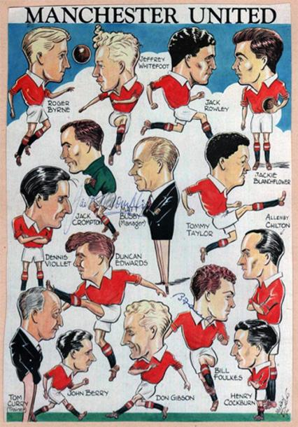 Manchester-United-Busby-Babes-signed-caricature-1953-Matt-Busby-Bill-Foulkes-Jack-Crompton-Man-Utd-Munich-1950s