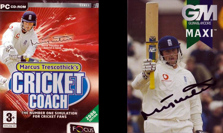 Marcus Trescothick signed photo card Cricket Coach DVD Game
