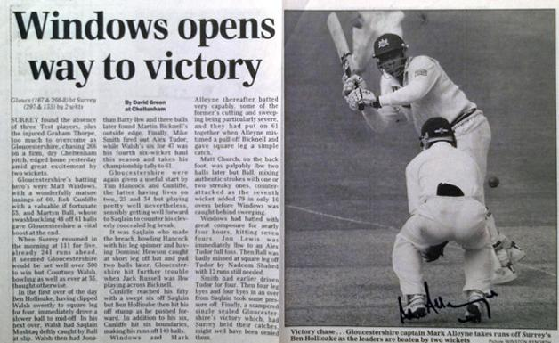 Mark-Alleyne-autograph-signed-Gloucestershire-Gloucs-CCC-cricket-memorabilia-1998-Times-newspaper-article-match-report-picture-batting-signature