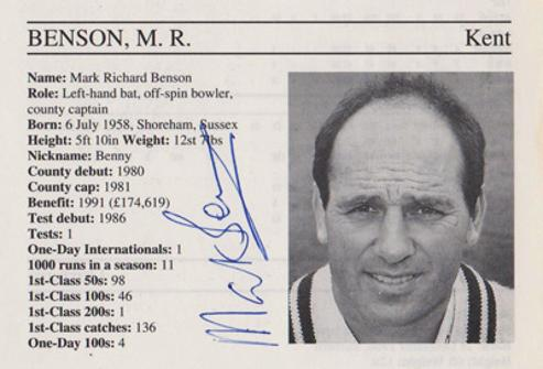 Mark-Benson-autograph-signed-kent-cricket-memorabilia-signature-captain-england-batsman-benno-1995-county-cricketers-whos-who