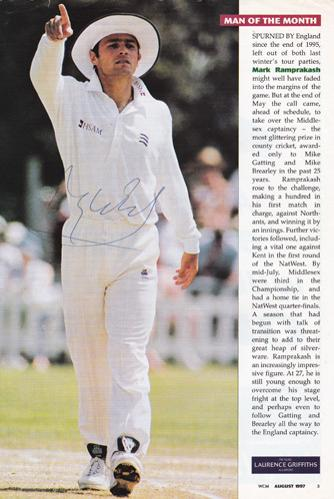 Mark-Ramprakash-autograph-signed-Middlesex-Cricket-memorabilia-england-test-match-captain-lords-batsman-middx-ccc