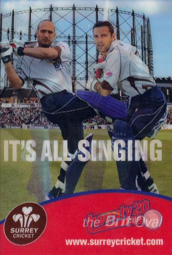 Mark-Ramprakash-memorabilia-Mark-Butcher-Surrey-CCC-cricket-memorabilia-Twenty-20-promo-card-Oval-Singing-Dancing
