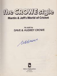Martin-Crowe-New-Zealand-signed-copy-The-Crowe-Style-Jeff-cricket-book-autobiography-autographed-memorabilia