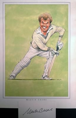 Martin-Crowe-autograph-signed-John-Ireland-print-New-Zealand-cricket-memorabilia-kiwi-NZ