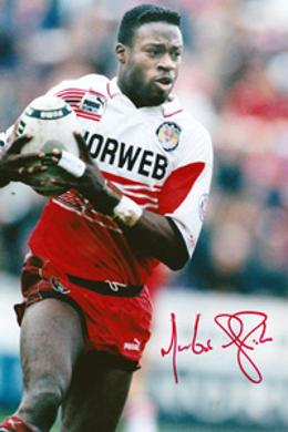 MARTIN OFFIAH memorabilia (Wigan, Broncos, Wasps & GB) signed photo rugby memorabilia league union autograph