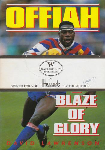Martin-Offiah-memorabilia-Martin-Offiah-autograph-signed-biography-A-Blaze-of-Glory-David-Lawrenson-wigan-warriors-rugby-memorabilia-widnes-chariots-of-fire-1983
