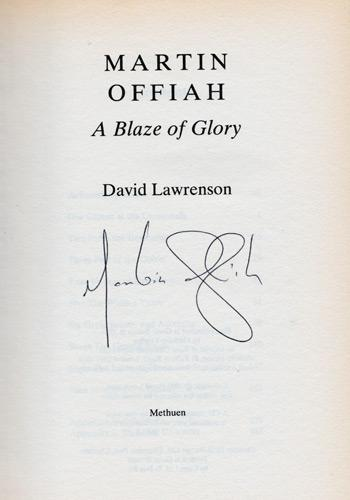 Martin-Offiah-memorabilia-Martin-Offiah-autograph-signed-biography-a-Blaze-of-Glory-David-Lawrenson-wigan-warriors-rugby-memorabilia-widnes-chariots-of-fire-1983-signature