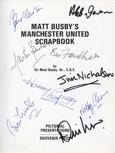 Matt-Busby-autograph-signed-Man-Utd-football-memorabilia-scrapbook-book-Bobby-Charlton-Denis-Law-Nobby-Stiles-Manchester-United-Busby-Babes-Sir-signature