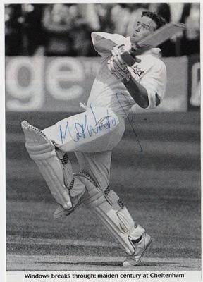 Matt-Windows-autograph-signed-Gloucestershire-Gloucs-CCC-cricket-memorabilia-newspaper-picture-maiden-century-ton-opening-batsman-signature