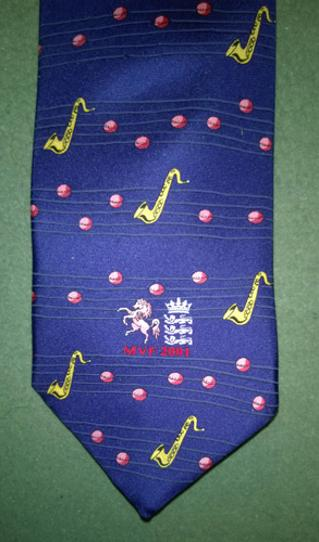 Matthew-Fleming-benefit-neck-tie-Kent-CCC-cricket-memorabilia-Valentine-MVF-2001-silk-England-KCCC-Green-Jackets-Eton-School-Saxophone-pink-cricket-ball