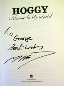 Matthew Hoggard signed Hoggy autobiography cover