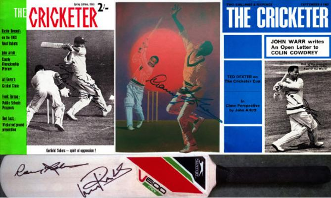 Garry Sobers Viv Richards signed bat cricketer magazine west indies cricket memorabilia autograph Graham Budd Auctions Sporting