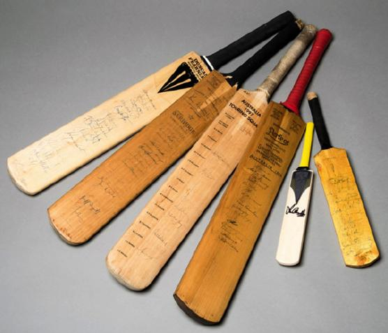 Signed-Australian-cricket-bats Benaud Keith Miller Chappell Warne Waugh Ashes Graham Budd Auctions Sporting Memorabilia 1000