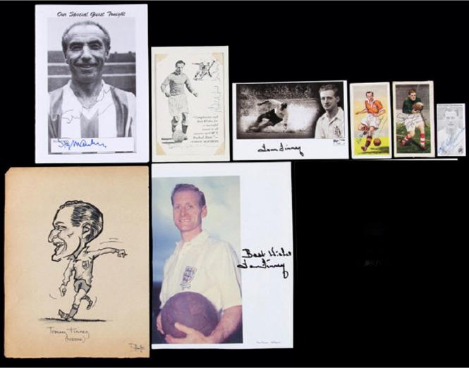 signed Football Stanley Matthews Tom Finney Sam Bartram Billy Wright Nat Lofthouse Graham Budd Auctions sports memorabilia