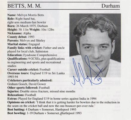 Melvyn-Betts-autograph-signed-durham-cricket-memorabilia-signature-1995-county-cricketers-whos-who
