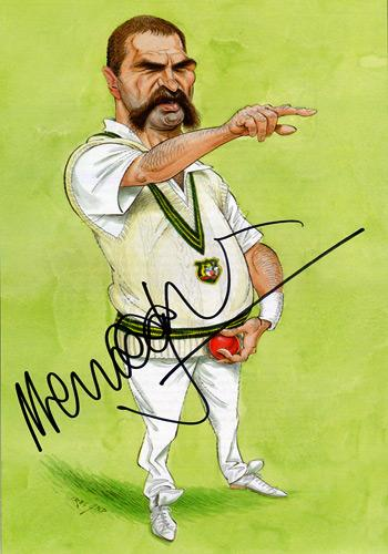 MERV HUGHES Hand-signed John Ireland Aussie cricket book picture