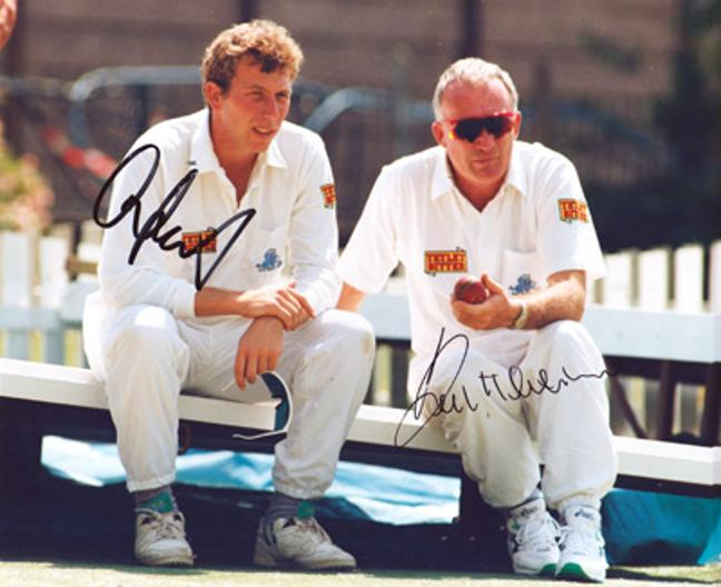 Michael-Atherton-autograph-Keith-Fletcher-signed-england-cricket-memorabilia-lancs-ccc-essex-captain-athers-gnome-coach