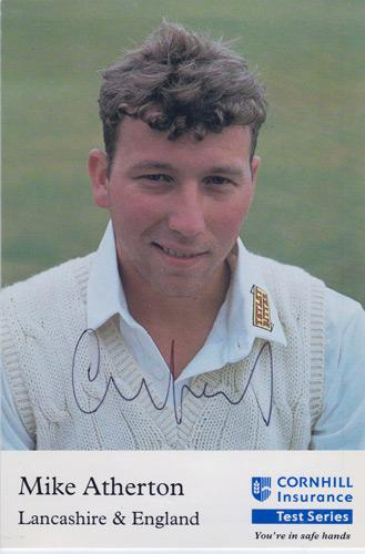 Michael-Atherton-autograph-signed-England-cricket-memorabilia-test-match-ashes-lancashire-athers-mike-captain-cockroach-sky-sports-tv-broadcaster-cambridge-blue