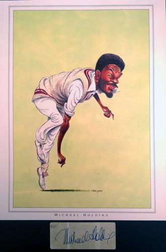 Michael-Holding-autograph-signed-John-Ireland-print-West-Indies-cricket-memorabilia-Jamaica-Whispering-Death