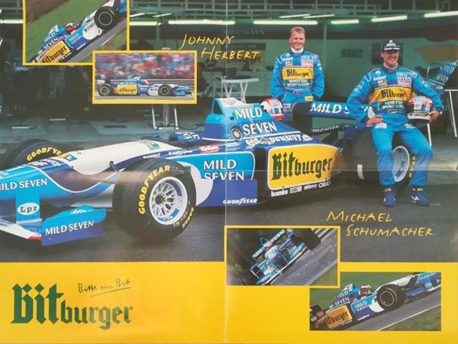 Michael-Schumacher-autograph-signed-formula-one-memorabilia-f1-johnny-herbert-benetton-racing-team-bitburger-beer-poster
