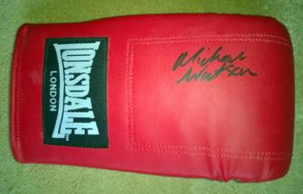 MICHAEL WATSON signed Lonsdale boxing glove.