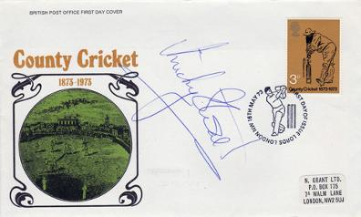 Micky-Stewart-signed cricket memorabilia first day cover FDC Surrey CCC England autograph 1973 centenary Lords