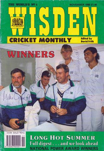Middlesex-cricket-memorabilia-1990-County-champions-signed-Wisden-magazine-cover-Mike-Gatting-autograph-Mark-Ramprakash-signature-Tufnell-Fraser-Roseberry
