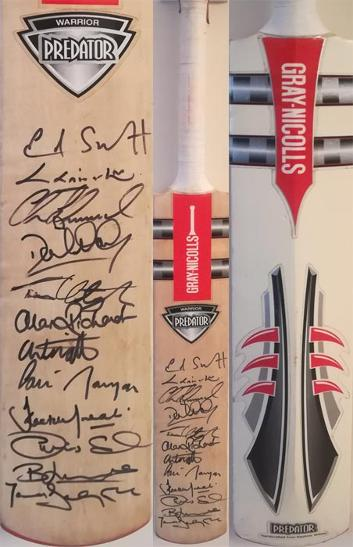 Middlesex cricket memorabilia signed gray nicolls mini bat eoin morgan autograph ed smith chris silverwood middx ccc predator lords