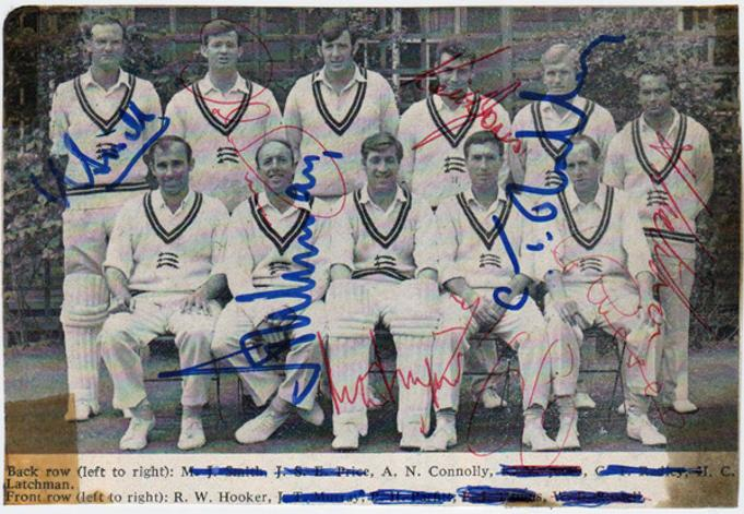 Middlesex-cricket-memorabilia-signed-team-photo-squad-1960s-Middx-CCC-County-Cricket-Club-peter-parfitt-fred-titmus-Clive-Radley-John-Price-Smith--Jones-Latchman-Murray-Eric-Russell