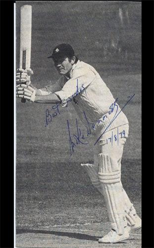 Mike-Denness-autograph-signed-Kent-CCC-cricket-memorabilia-england-test-captain-1974-photo-lucky-hootsman-spitfires-signature-batting-scotland