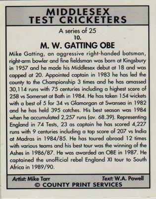 Mike-Gatting-autograph-signed-Middlesex-cricket-memorabilia-England-test-match-captain-gatt-Middx-CCC-MW-obe-cricketers-county-print-player-card