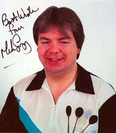 Mike Gregory memorabilia signed darts memorabilia photo autographed BDO PDC memorabilia arrows dart memorabilia