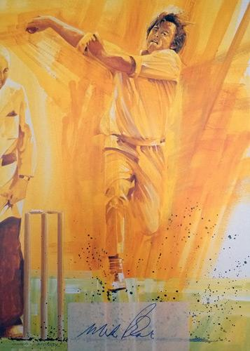Mike Proctor-autograph-signed-cricket-memorabilia-Gloucs-CCC-South-Africa John Ireland print