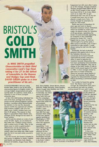 Mike-Smith-autograph-signed-Gloucs-ccc-cricket-memorabilia-England-fast-bowler-gloucestershire-signature-Cricketer-magazine-nat-west-final-preview-pic-left-armer