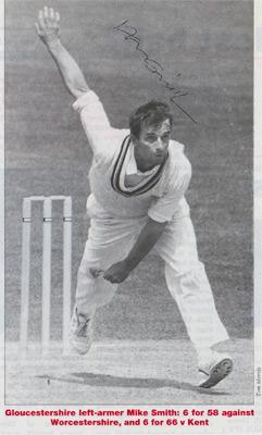 Mike-Smith-autograph-signed-Gloucs-ccc-cricket-memorabilia-England-fast-bowler-gloucestershire-signature-newspaper-pic-bowled-six-wickets-left-armer