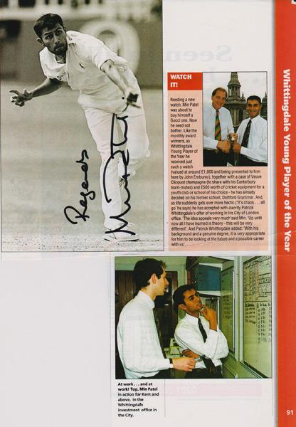 Min-Patel-autograph-min-patel-memorabilia-signed-Kent-cricket-memorabilia-whiitingdale-youg-player-of-the-year-bexley-cc-min-the-spin-England-Test-spinner-KCCC