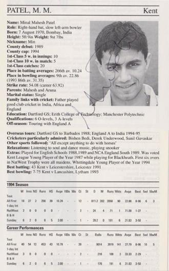 Min-Patel-autograph-signed-kent-cricket-memorabilia-signature-captain-england-spinner-minal-kccc-1995-county-cricketers-whos-who-coach