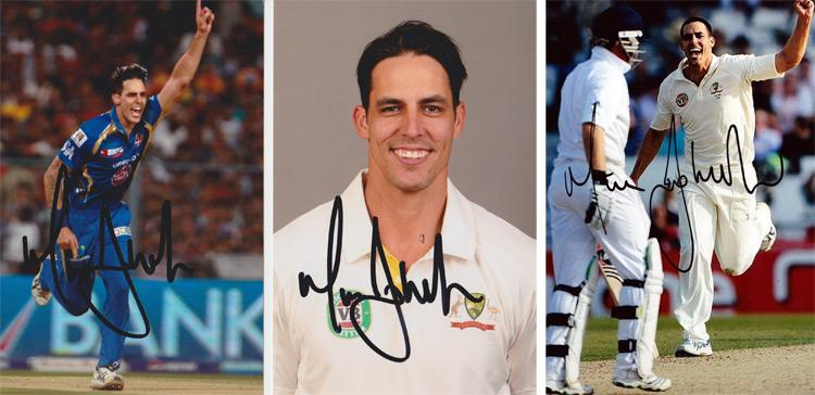 MITCHELL JOHNSON hand-signed Australia cricket photos
