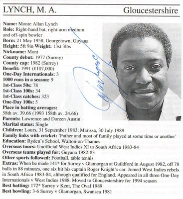 Monte-Lynch-autograph-signed-Gloucestershire-Gloucs-CCC-cricket-memorabilia-whos-who-cricketer-page-bio-career-surrey-england-picture-signature