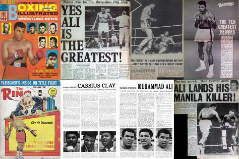 Muhammad-Ali-memorabilia-Cassius-Clay-memorabilia-newspaper-clippings-boxing-magazine-articles-ephemera-playboy-mag-interview-the-ring-1960s-collectables-the-greatest-thriller-manila